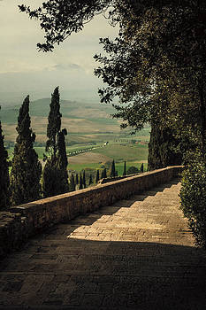 Staircase to Pienza by Clint Brewer
