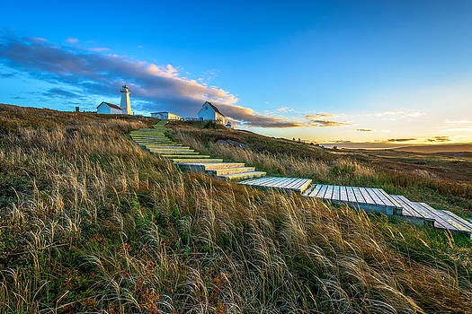 Stairway to Cape Spear at Dusk by Gord Follett