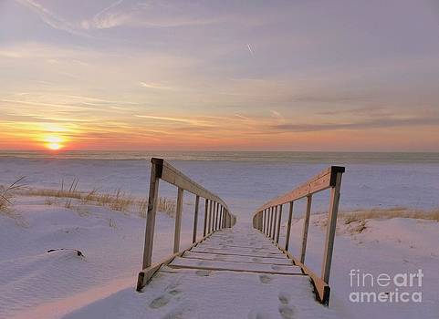 Stairway To Heaven Reflection Sunset Skies Of Lake Michigan by Jack  Martin