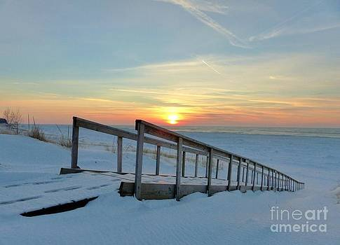 Stairway To Heaven Sunset Skies Of Lake Michigan by Jack  Martin