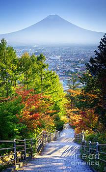 Stairway to Mountain Fuji in Japan  by Noppakun Wiropart