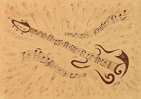 Stand By Me Guitar Notes original coffee painting by Georgeta Blanaru