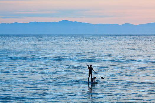 Stand Up Paddle Surfing in Santa Barbara Bay California by Ram Vasudev