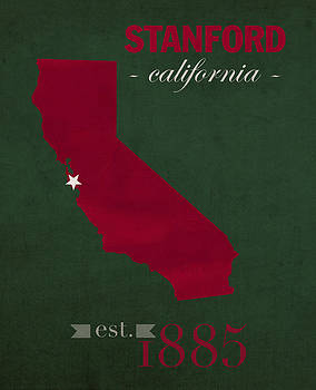 Design Turnpike - Stanford University Cardinal Stanford California College Town State Map Poster Series No 100