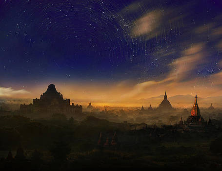 Star trails over Bagan myanmar  by Weerapong Chaipuck