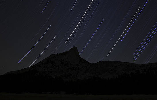 Star Trails Over Cathedral Peak by Judi Baker