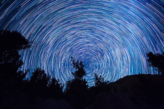 Star Trails with Meteor by Larry Pollock