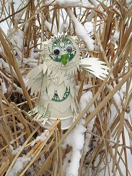 Alfred Ng - starbucks snowy owl with firsh snow