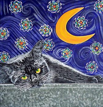 Starry Night Black Cat by Karen Howell