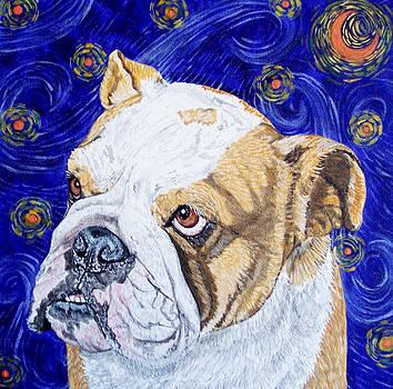 Starry Night Bulldog by Karen Howell