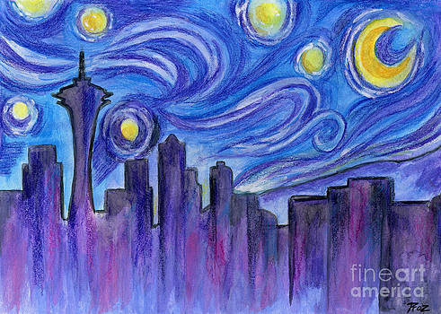 Starry Night Over Seattle by Roz Abellera Art