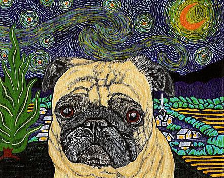 Starry Night Pug by Karen Howell