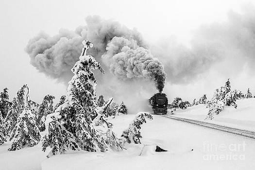 Steam train on Brocken mountain by Christian Spiller