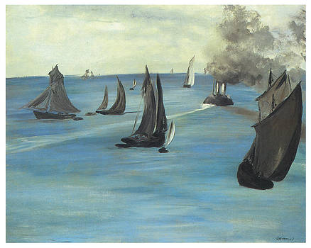 Edouard Manet - Steamboat Seascape of Sea View Calm Weather
