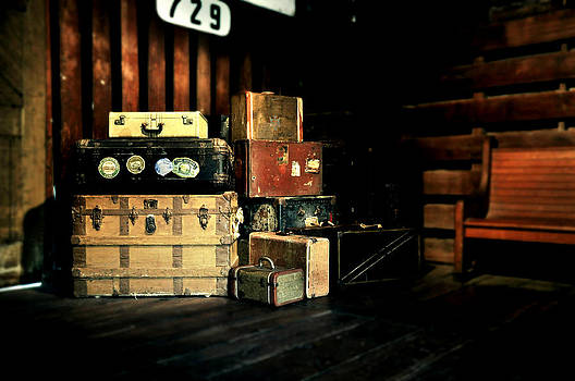 Rebecca Brittain - Steamer Trunks and Suitcases at Railroad Station