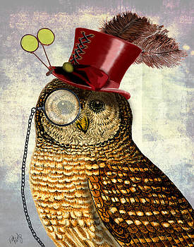 SteamPunk Owl with Top Hat by Kelly McLaughlan