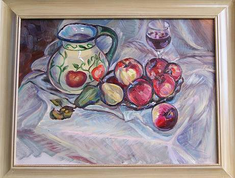 Steel life with apples and red vine by Efim Melnik