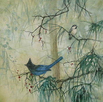 Steller's Jay and Chickadee by Floy Zittin