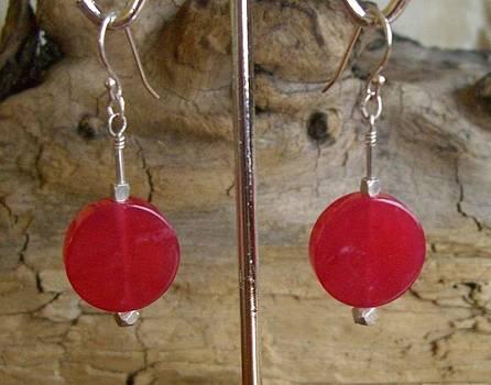 Sterling Cherry Quartz Earrings by Ann Mooney