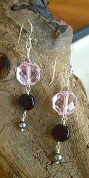 Sterling Pink Crystal Onyx and Pearl Earrings    by Ann Mooney