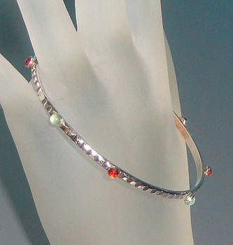 SOLD - Sterling Silver Bangle with Gems by Robin Copper