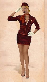 Stewardess marquetry by Zsolt Sesztak
