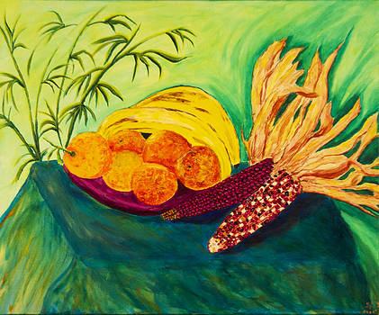 Still Fruit and Corn  by Phoenix The Moody Artist