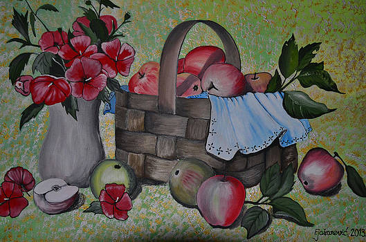 Still Life-Apples and flowers by Ferid Jasarevic