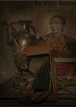 Still life -bronze vase with camera by Jeff Burgess