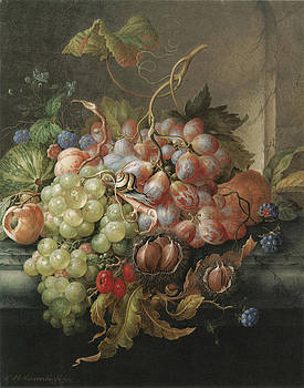 Herman Henstenburg - Still Life of Fruit with Chestnuts and a Snail