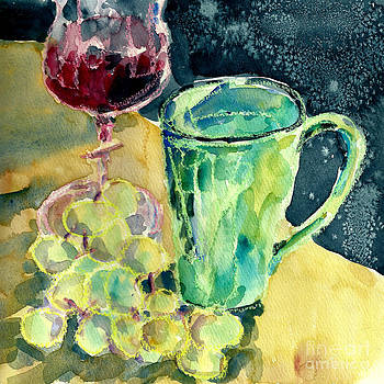 Still Life Of Grapes by Toshiko Tanimoto
