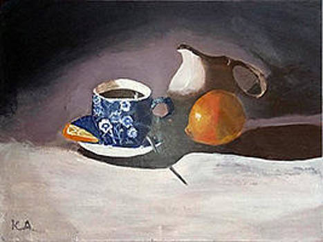 Still life with a cup of coffee and lemon  by Andrea Kucza