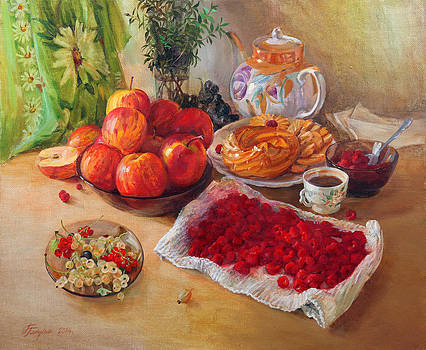 Still Life With Apples And Raspberries by Galina Gladkaya