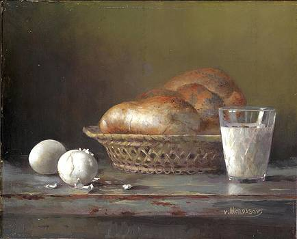 Still life with bread and milk by Victor Mordasov