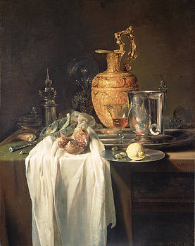 Willem Kalf - Still Life With Ewer Vessels And Pomegranate
