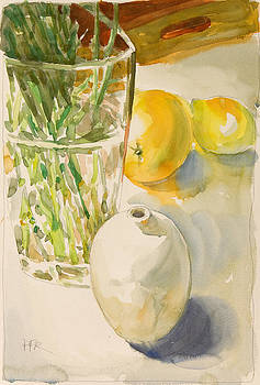 Still life with lemon and vase by Pablo Rivera