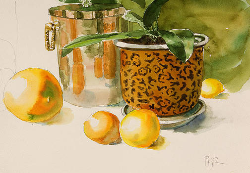 Still life with lemons and potted plant by Pablo Rivera