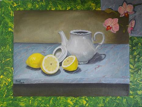 Still life with lemons by Beata Rosslerova