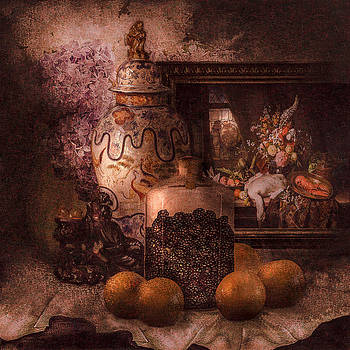 Still life with oranges and blackberries and lilacs by Jeff Burgess