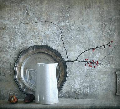 Still life with red berries by Vladimiras Nikonovas