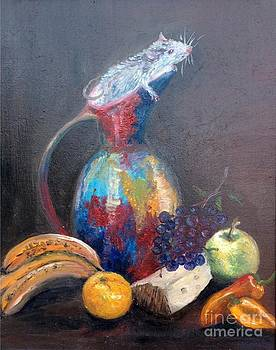 Still life with white mouse by Irene Pomirchy