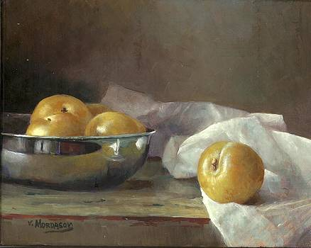 Still life with yellow plums by Victor Mordasov