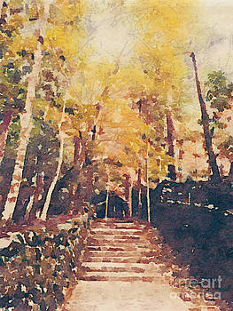 Beverly Claire Kaiya - Stone Path Through a Forest in Autumn