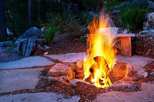 Jo Ann Snover - Stone patio with fire pit