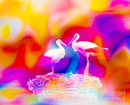 Algirdas Lukas - Storks in White Nest
