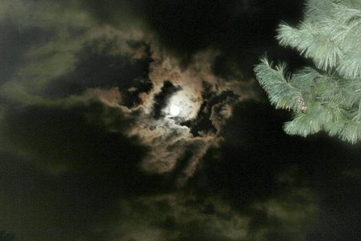 Storm Clouds Surrounding Harvest Moon by Connie Ann LaPointe