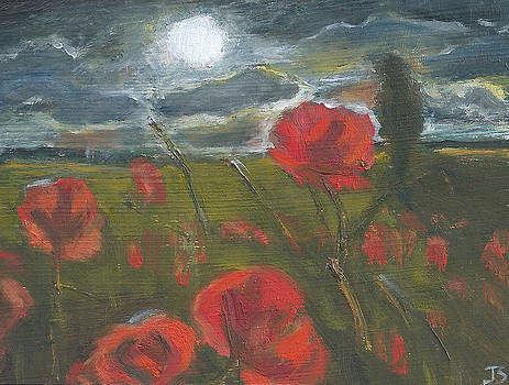 Storm Passing Night Poppies by Jessmyne Stephenson