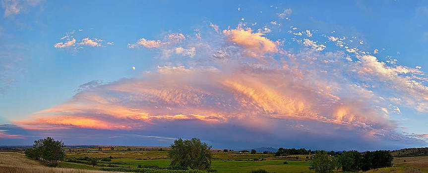 James BO  Insogna - Storm Sunset Moon Longmont to Boulder CO Panorama