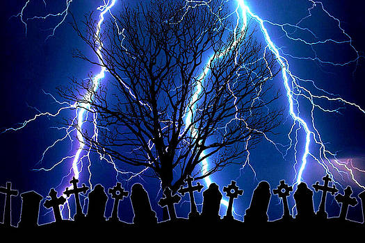 Stormy Night at the Graveyard by J D Owen