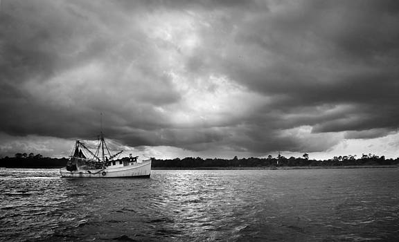 Stormy Weather Fishing Boat by Perry Harmon